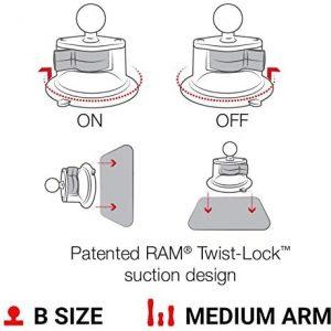 Ram Mount Twist universal X-GRIP suction closure mount Cell Phone Holder, Black