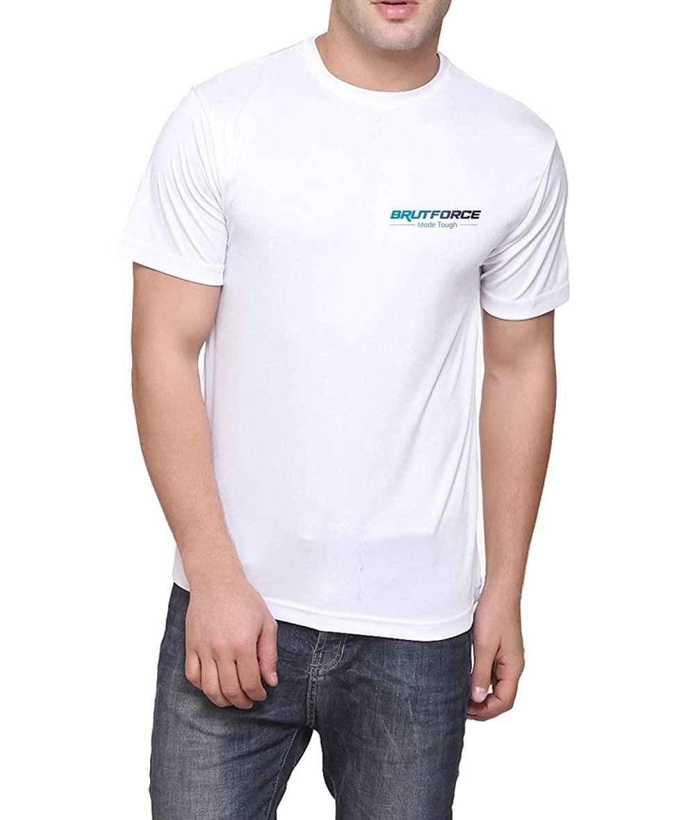 Brutforce Unisex White Polyster Round Neck T shirt